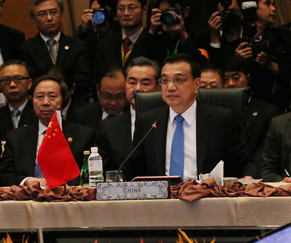 Chinese Premier Li Keqiang addresses the 18th ASEAN-China summit in Kuala Lumpur, Malaysia, Nov. 21, 2015. [Photo/Xinhua]