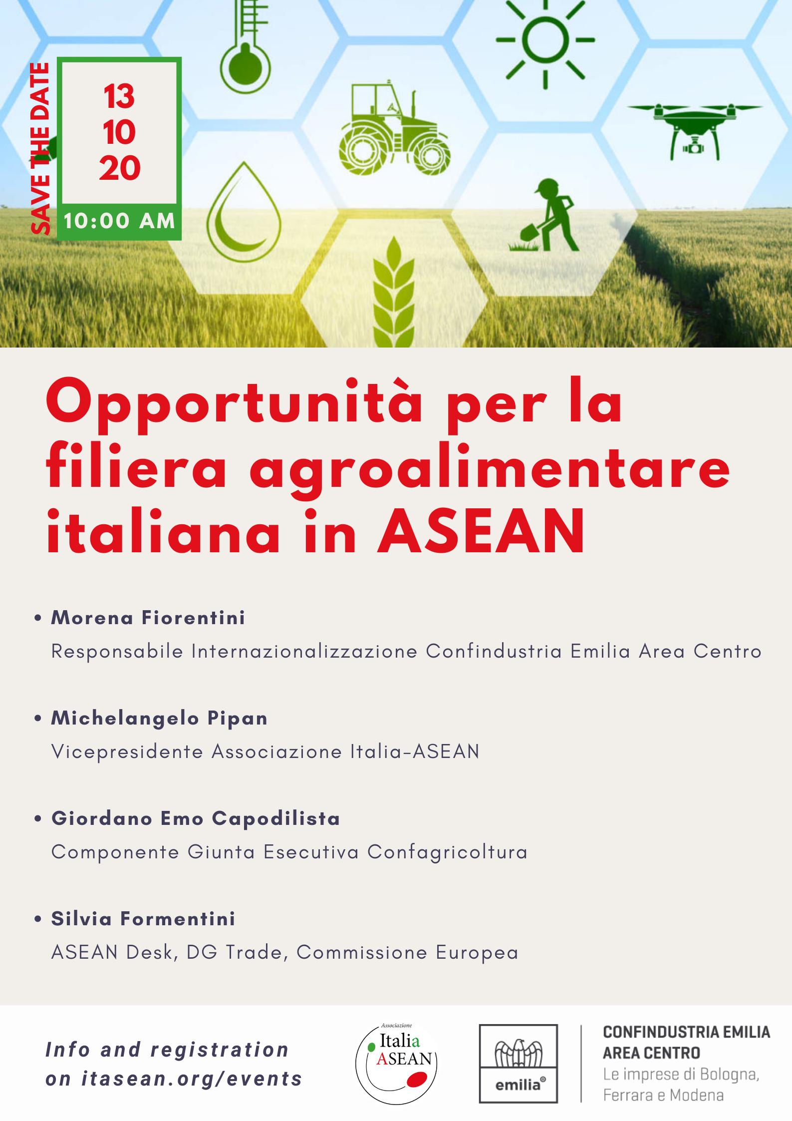 Opportunità per la filiera agroalimentare italiana in ASEAN